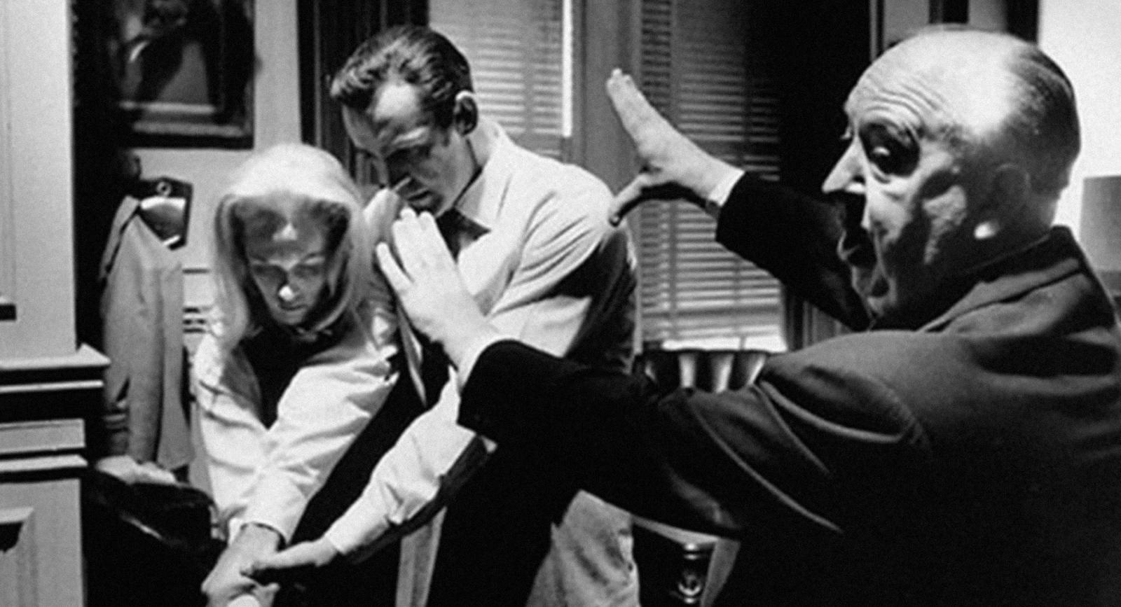 Hedren und Hitchcock beim Filmdreh