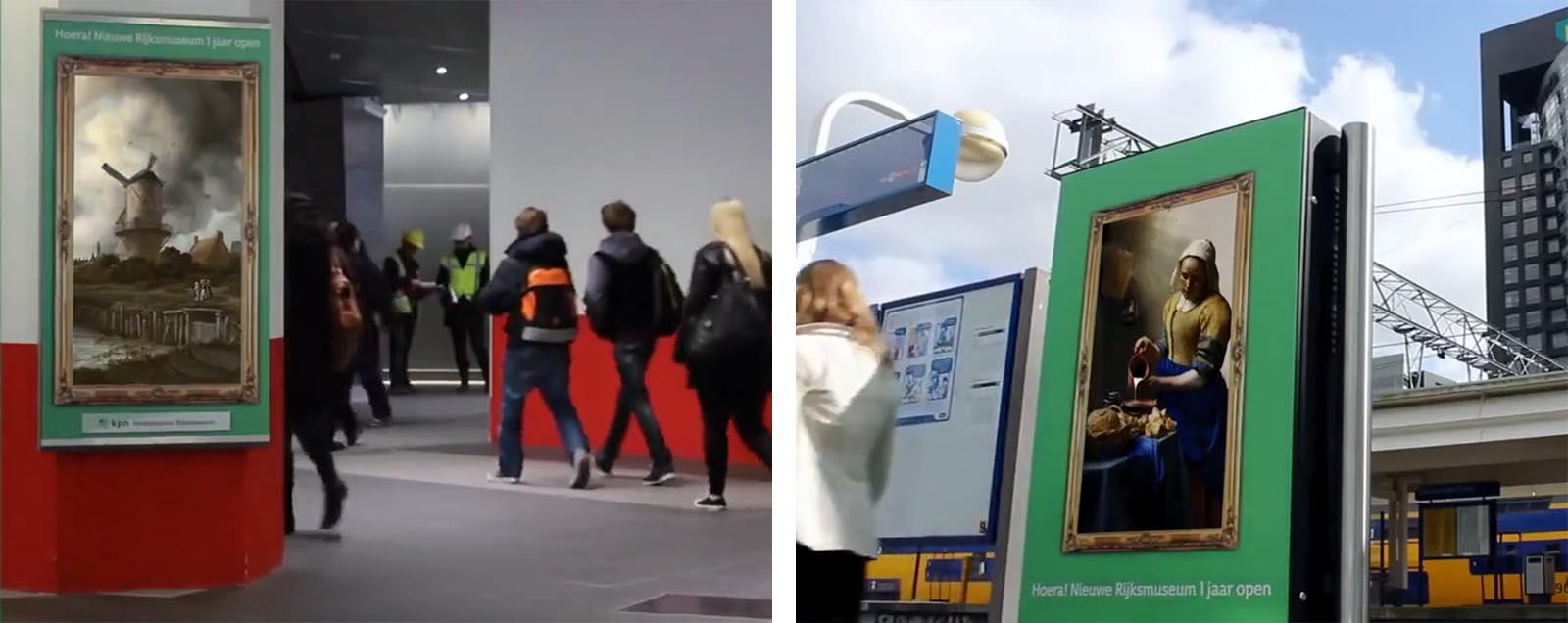 Animierte Gemälde auf den Bahnsteigen in Amsterdam